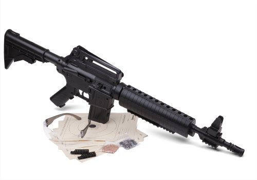 Crosman M4-177KT Tactical Style Bolt Action Variable Pump .177-Caliber Pellet and BB Air Rifle Kit With Ammo, Targets And Shooting Glasses