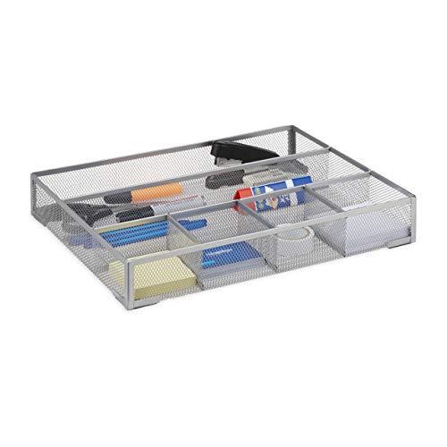 Relaxdays Schreibtischorganizer groß, rutschfeste Ablagebox mit 6 Fächern, Metall Mesh, HxBxT: 6 x 38 x 30 cm, silber