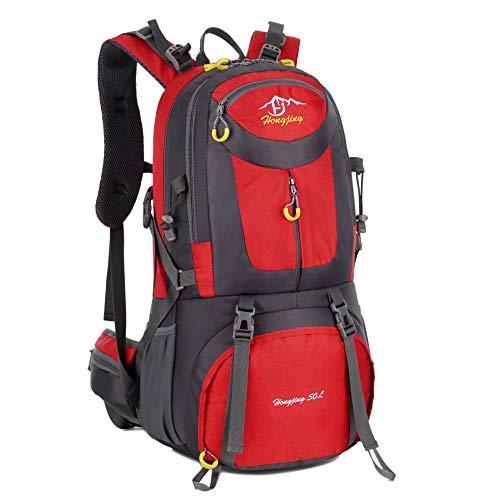 QXbecky Alpinisme sac à dos hommes et femmes en plein air voyage imperméable respirant porter grande capacité sport sac à dos de randonnée 40L 50L 60L rouge 60x35x20cm