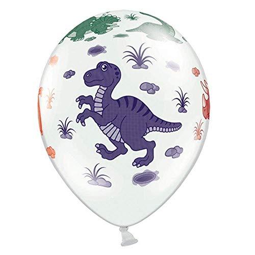 Dinosaur Ballonnen 30 centimeter Dino Party Pastel Wit x 6