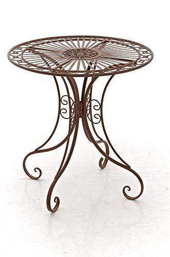 CLP Table de Jardin en Fer Forgé Hari - Table de Terrasse au Style Antique - Table Jardin en Fer avec Un Diamètre de Ø 70 cm et Une Hauteur de 7, Couleurs:Antique Marron