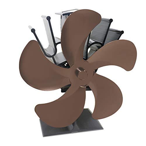 FLAMEER Ventilador de Chimenea con Estufa de Madera Eco Motor Doble de 5 Hojas con medidor de Temperatura - de Bronce