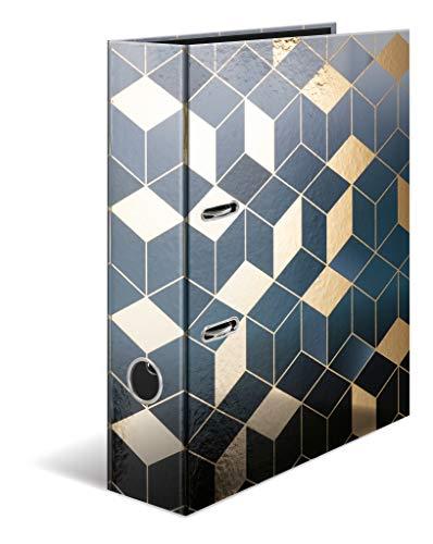 HERMA 7056 Motiv-Ordner DIN A4 GLANZvoll Cubes, 7 cm breit aus stabilem Karton mit Folienveredelung, Ringordner, Aktenordner, Briefordner, 1 Ordner