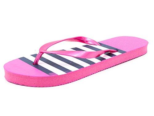 Ladies/Womens Sand Rocks Stripe Print Summer Flip Flops Orange Blue Pink (UK 7/8, Pink)