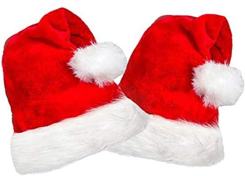 2 Pack Plush Santa Hats Christmas Santa Hats for Christmas Party Adult size product image