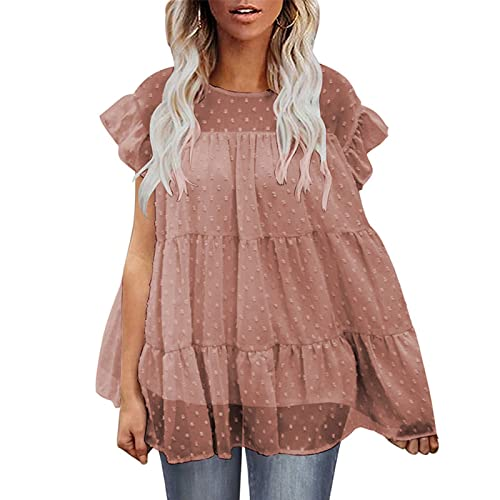 Jersey de Cuello Redondo para Mujer Top Suelto cómodo Tendencia Todo-fósforo Moda Volantes Casual Básico Camiseta de Manga Corta L
