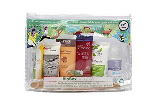 BioBox by Flightbox - Pour Femmes - Trousse de toilette voyage BIO complète pour le voyage - Trousse de Toilette Transparente, Kit de Voyage, Trousse de Voyage étanche Sac Cosmétiques pour Femmes