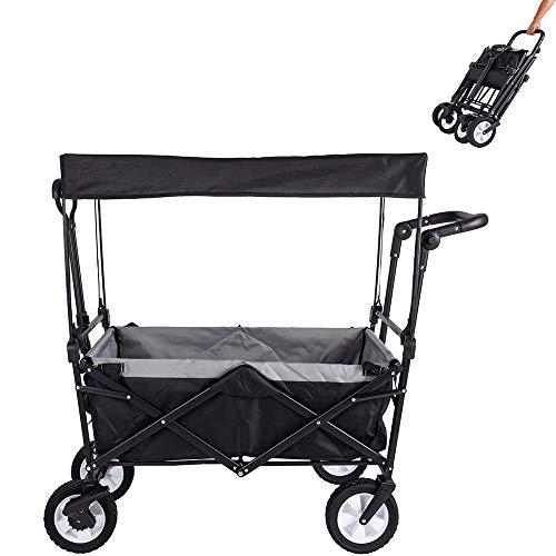 Amazon Brand - Umi Bollerwagen mit Dach Transportwagen Ausziehbarer Griff Handwagen Transportkarre Faltbar Gartenwagen Gerätewagen 361°Drehbar (Schwarz)