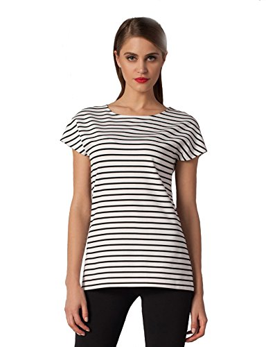 GF tuniek blouse shirt zwart-wit-gestreept elegant modieus fris locker korte mouwen ronde hals T-shirt licht getailleerd casualmode