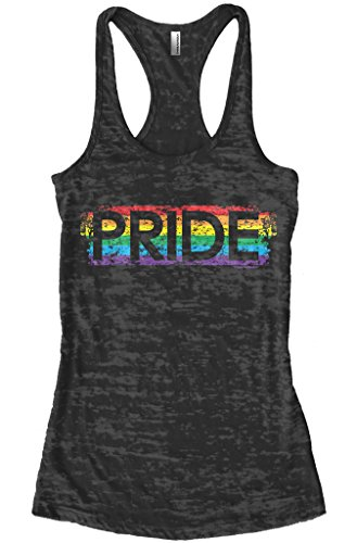Threadrock Women's Gay Pride Burnout Racerback Tank Top L Black