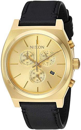 Nixon Herren Chronograph Quarz Uhr mit Leder Armband A1164-510-00