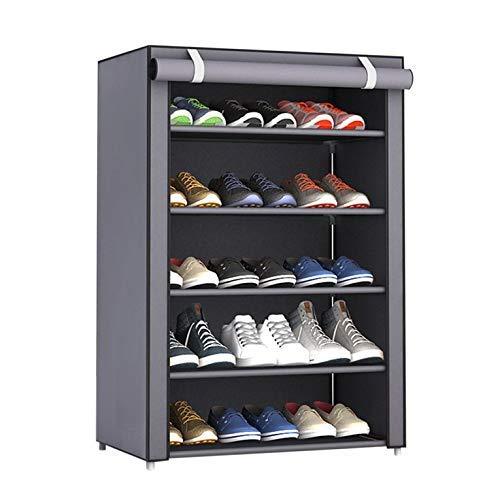 #N/V Estante organizador de zapatos de tela no tejida, a prueba de polvo, tamaño grande, para el hogar, dormitorio, dormitorio, zapatero, color gris plateado, 6 capas, 5 entramado