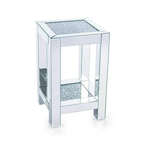 Touch of Vogue Pillar Mirrored Crushed Diamond Crystal Side End Table Stand Mirror Glitz Design (56CM)