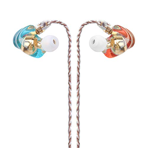 Kmrlim-FDBRO- Resin Earbud Earphones MMCX Jack Connector Comfortable in Ear Earphones Smooth HD Sound Replaceable Cable Headsets 3.5mm Plug for Smartphone, MP3 Player