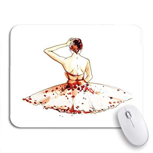 Gaming mouse pad tutu ballerina im braunen kleid aquarell ballett mädchen schuhe rutschfeste gummi backing computer mousepad für notebooks maus matten