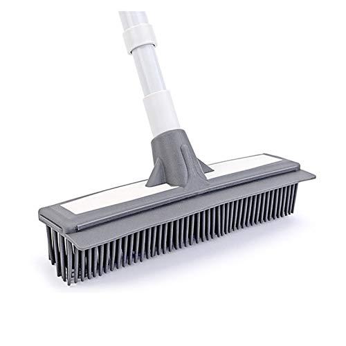 HLRY Cepillo Largo de Limpieza Cepillo de Cepillo de Goma Suave Cabeza de Lavado Cepillo de Lavado Herramientas de Limpieza con Tira de limpiaparabrisas Accesorios de baño (Color : Gray)