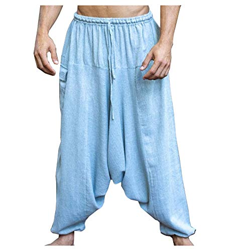 AJJAYA Aladdin Pantalones de algodón con Entrepierna caída para Hombre Gris Yogi Ashtanga Asana Harem Alibaba Yoga Pantalones de Bolsillo afganos cómodos Tai chi Gong Kung fu