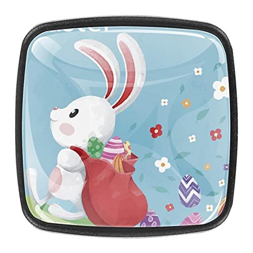 (4 piezas) pomos de cajón para cajón con mango de cristal para gabinete con tornillos para gabinete, hogar, oficina, armario, conejito con mochila de 35 mm