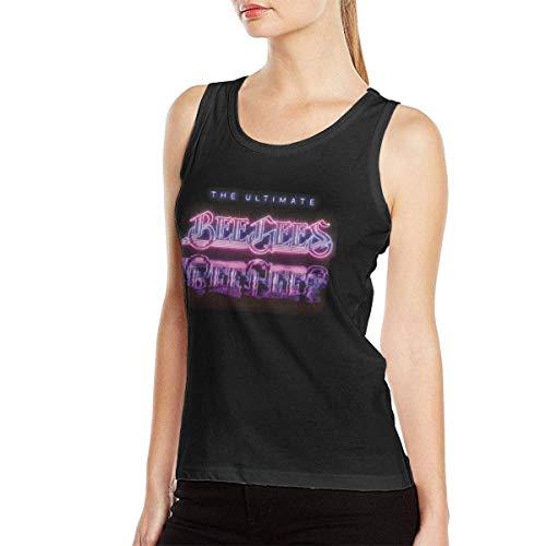 353 Bee Gees Logo Women Music Style Band Comfortable Sleeveless T-Shirt Muscle Shirt Workout Shirt Black Camisetas y Tops(Medium)