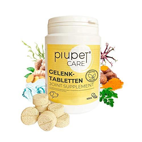 PiuPet® Pastillas Veganas para Las articulaciones de los Perros - Fabricado en Alemania - Alimento complementario sin azúcares añadidos - Adecuado para Todos los Perros - Gran aceptación