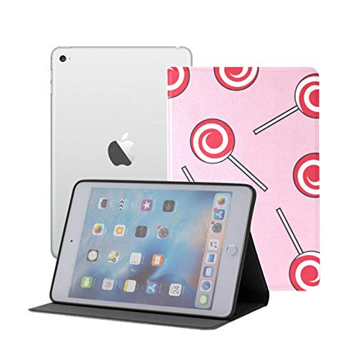 Compatible for iPad Mini 1/2/3 Case, Slim Fit All Round Protect Cover Candy Lollipops Pattern Red Stand Angles with Auto Sleep/Wake