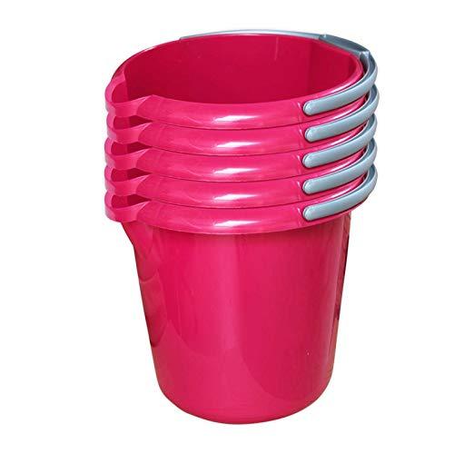 Putzeimer Set - 5 Stück mit Ausguss und Skala, 5 Liter - Eimer rund, Wassereimer Kunststoff, Haushaltseimer Plastik - verschiedene Farben, Farbe:pink