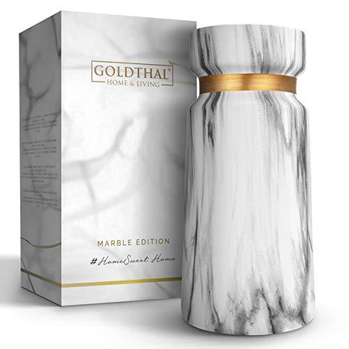 Goldthal® Keramik Vase im Boho Stil - schlicht & modern - ideal zur Aufbewahrung von Blumen, Pampasgras & Anderen Deko-Elementen - weiße Marmor-Optik in matt mit Gold-Ring