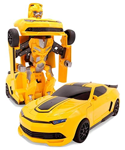 SuperPower Remote Control Car Transforming Bumblebee Classic Disguise Action Figure Hero Robot Toy with One Button Transformation