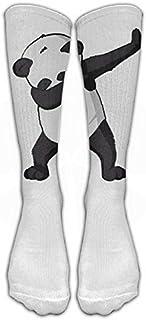 Cute Funny Hip Hop Panda Dabbing Dab Dance Medias blancas Calcetines largos, clásicos Calcetines hasta la rodilla Calcetines deportivos para mujeres Hombres Adolescentes Amigos Familia