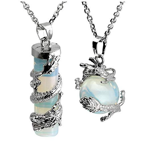 Jovivi 2pc Dragon Wrapped Opalite Round Ball Cylinder Gemstone Healing Crystal Pendant Necklace Set