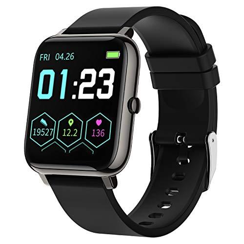 LIEBIG Smart Watch, Smartwatch Orologio Intelligente Fitness Tracker Uomo Donna GPS Cardiofrequenzimetro da Polso Saturimetro Bluetooth Orologio Sportivo Impermeabile IP67 Calorie Pedometro (Nero)