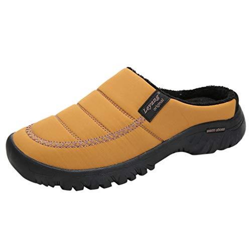 Yowablo Hausschuhe Herren Damen Memory Foam Pantoffeln Hüttenschuhe Filzpantoffeln Plüsch Warm Indoor Outdoor (40 EU,Herren-Khaki)