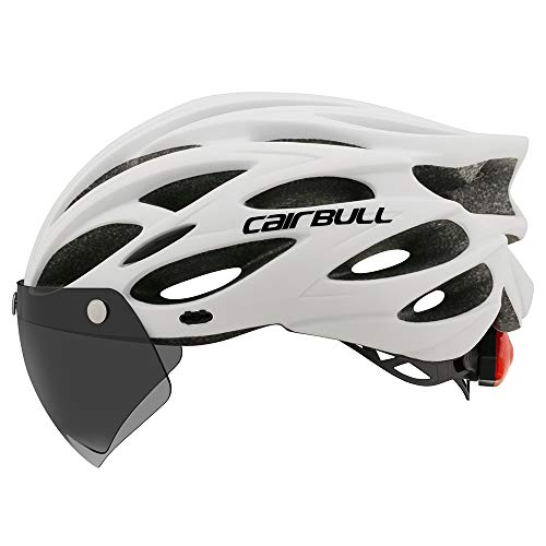 Cairbull - Casco unisex para ciclismo con lámpara en la visera para la noche, M/L 2, CB-26, Unisex adulto, gris oscuro, M/L