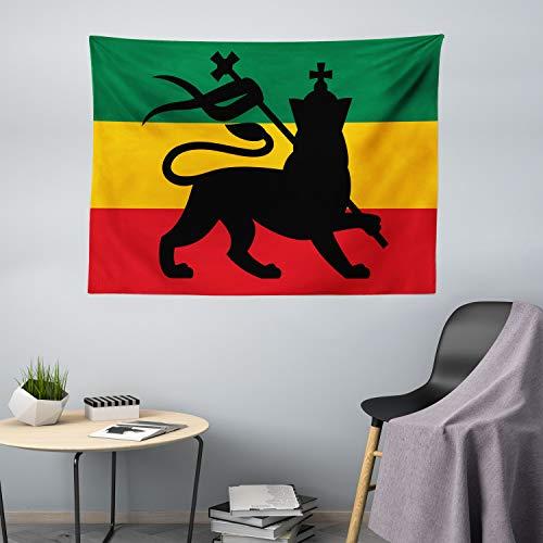 ABAKUHAUS Rasta dywan ścienny, flaga Judah Lion Reggae, do salonu, sypialni, chusta na ścianę, jedwabisty satynowy dywan ścienny, 200 x 150 cm, żółty czarny