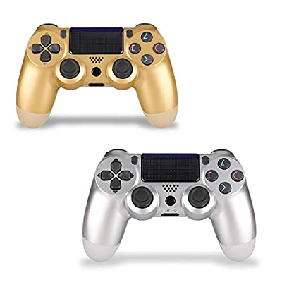 Wireless Controller for PS4 - Foster Gadgets Remote Joystick for Sony Playstation 4 Control with Dualshock and Charging Cable (Gold and Silver, 2019 New Model by Foster Gadgets