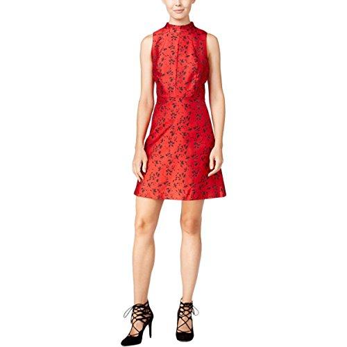 kensie Floral Brocade Dress Small Red