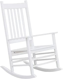 B&Z KD-25W Wooden Rocking Chair Heirloom Contoured Porch Rocker Indoor Outdoor (White)
