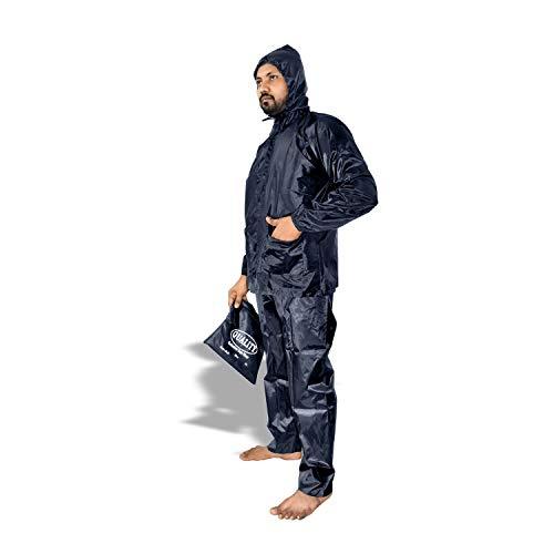 DROHAR Men's & Women's Raincoat,Rainwear,Barsaati,Overcoat with Hood,Side Pocket 100% Waterproof Portable Rain Suit (Unisex)(NAVY)