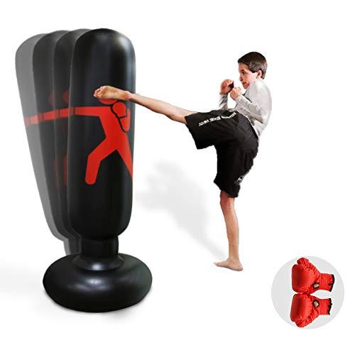 HANDSONIC Inflatable Boxing Punching Bag, Fitness Punching Bag for Kids/Adult, Vertical Boxing Column Tumbler Sandbags Practice Karate Training Taekwondo Equipment with Boxing Gloves (63')