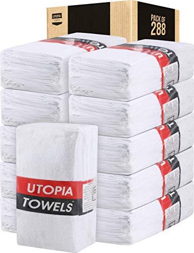 Utopia Towels - juego de toallas de lavado, 30x30 cm, 100% algodón hilado en anillo, toallas de franela, muy absorbentes y para los dedos (Blanco) (Paquete de 288)