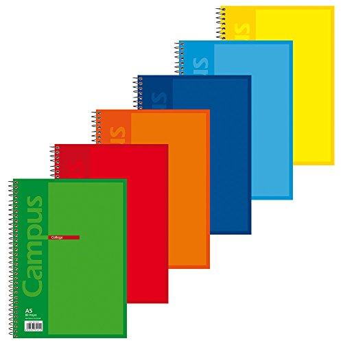 Campus University 001562 - 004 - Pack de 6 blocs de tapa básica, tamaño A5, multicolor