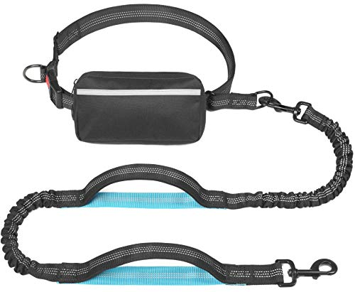 iYoShop Hands Free Dog Leash with Zipper Pouch, Dual Padded Handles and Durable Bungee for Small Medium and Large Dogs (Medium/Large, Black)