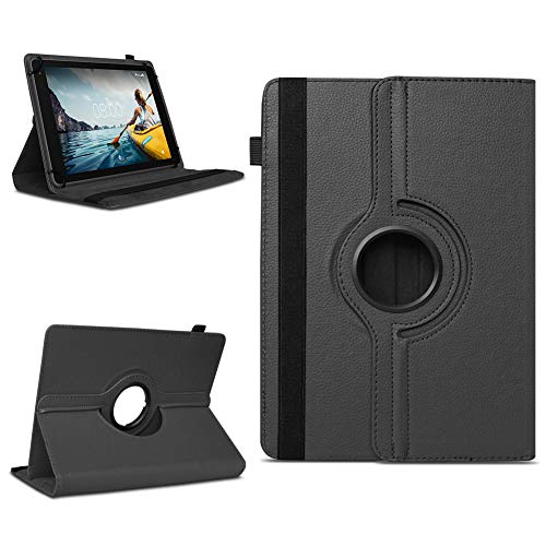 NAmobile Tablet Tasche kompatibel für Medion Lifetab E10702 Hülle Schutzhülle Standfunktion 360 drehbar Universal Hülle Schutz Cover, Farben:Schwarz