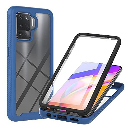 XYOUNG Funda para Oppo Reno5 Lite/Oppo A94 4G (6,4 pulgadas), carcasa protectora transparente con protector de pantalla integrado, color azul
