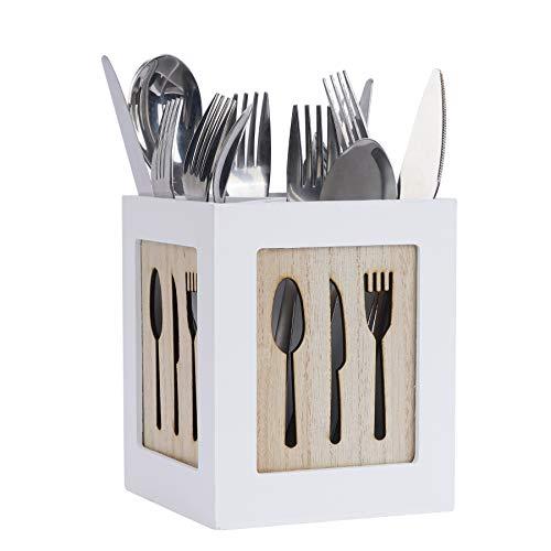 Wooden Kitchen Utensils Holder Flatware Organizer Caddy 4 Compartments Cutlery Box Utensil Organizer for Silverware Cutlery Utensil Holder for Kitchen