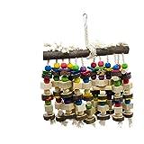 DIYARTS Juguete de Loro Juguete de Actividad de Percha de Madera para Pájaros Juguete de Columpio de Pájaro para Loros de Aves Grandes y Medianas (Color Aleatorio)