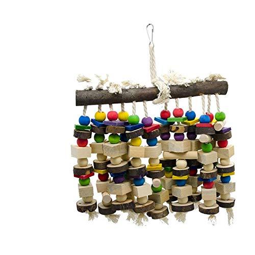 DIYARTS Multifunktions-Papageienspielzeug Holzvogel Barsch Stand Aktivität Spielzeug Vogel hängen Schaukelspielzeug für mittelgroße Vögel Papageien (zufällige Farbe)