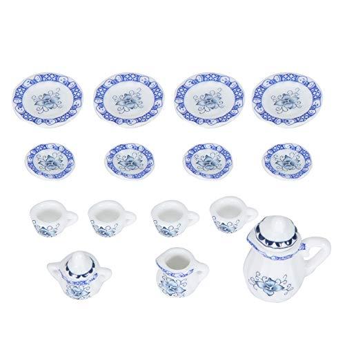 ViaGasaFamido Set da tè in Miniatura, 15 Pezzi 1:12 Casa delle Bambole Mini Porcellana Fiore Set di Tazze da tè Casa delle Bambole Set teiera in Miniatura Simulazione Cucina Prop(#1)
