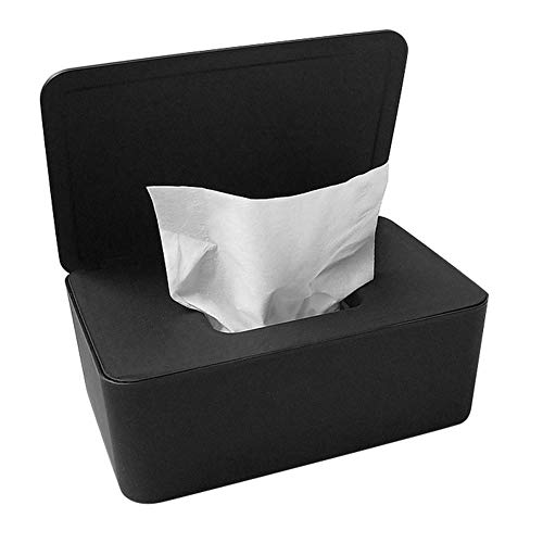 Tiakino Wipes Dispenser Holder, Dustproof Tissue Storage Box Case Wet Wipes Dispenser Holder with Lid for Home Office Desk (Black)