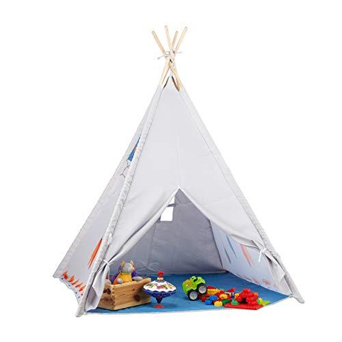 Relaxdays Tipi Spielzelt, Tipi Zelt Kinderzimmer, Kinderzelt Drinnen und Draußen, ab 3, HxBxT: 155 x 125 x 125 cm, grau